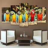 hlonl (Kein Rahmen) Leinwand Gemälde Wand Kunst Wohnkultur Wohnzimmer Hd Gedruckt 5 Stücke Papagei Gruppe PosterBunte Vögel Modular Pictures