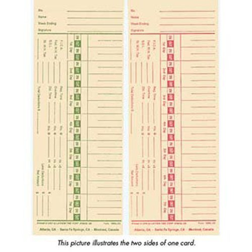 Lathem 1900L-2 Time Cards - Double Sided, Weekly or Bi-Weekly