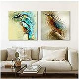 Poster und Drucke Wandkunst Leinwand Malerei Kolibri dekorative Malerei für Wohnzimmer Dekor 70x70cm gerahmt Aquarell