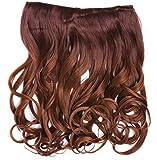 WIG ME UP - CMT-863-33TT30 clip-in extension de cheveux arrière de la tête large 5 clips bouclé boucles dégradé châtain brun rouge brun cuivré 40 cm