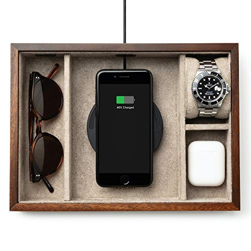 TAWBURY Wooden Valet Tray for Men – Luxury Wooden Nightstand Organizer for Men | Catchall Tray for Keys Wallet Phone | Watch Holder for Men | EDC Tray | Bedside Tray | Mens Dresser Top Organizer Wood