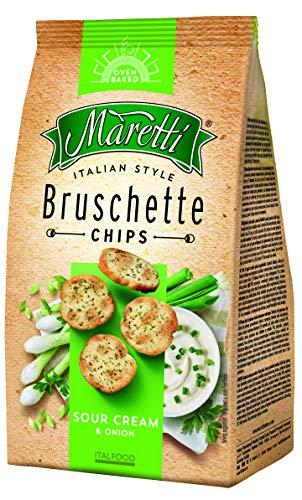 Maretti Maretti Bruschette Chips Sour Cream & Onion - Brotchips mit Sour Cream und Zwiebel Geschmack - im Ofen gebacken - Bruschetta Chips - 150 g