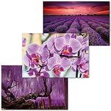 GREAT ART 3er Set XXL Poster – Violette Natur –
