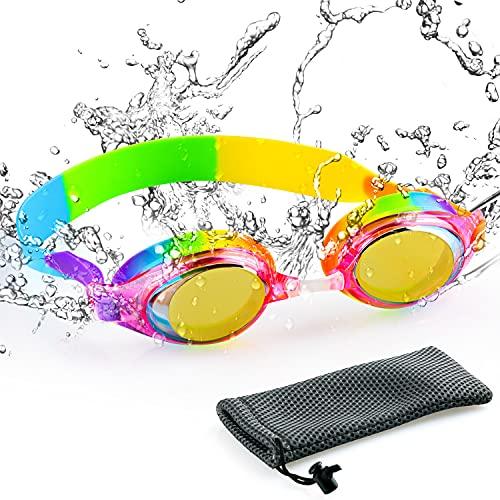 AgoKud Schwimmbrille Kinder, Profi Taucherbrille Verstellbares Silikonband, Antibeschlag UV Schutz Taucherbrille(0-14 Jahre)