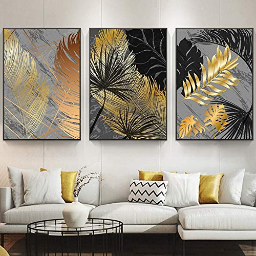 adgkitb canvas Poster Marmor Golden Leaf Art Pflanze Abstrakte Malerei Wohnzimmer Dekoration Bilder Decoration50x70cmx3 KEIN Rahmen