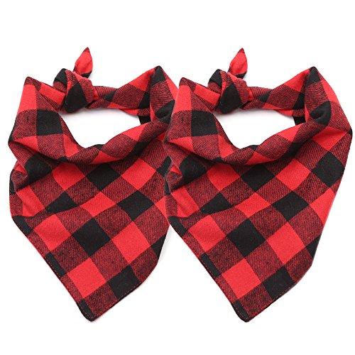 ASOCEA Dog Plaid Bandana Washable Triangle Bibs Cotton Kerchief Scarf Accessories