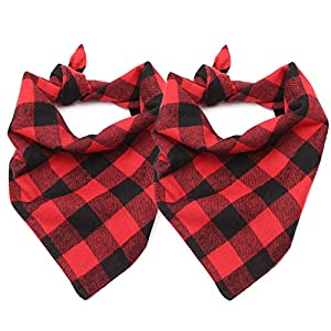 ASOCEA Dog Plaid Bandana Washable Triangle Bibs Cotton Kerchief Scarf Accessories for Small Medium Dogs Puppy Birthday Party Holiday Daily Use