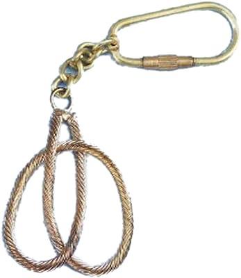 "Hampton Nautical K-275 Solid Brass Clove Hitch Knot Key Chain 5"" - Nautical Decor - Nautical Home Decoration"