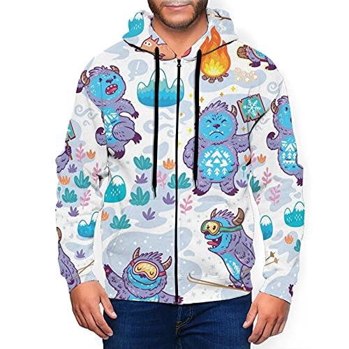 Sudaderas con capucha para hombre Yeti y Bigfoot patrón sudadera con capucha 3d estampado chaqueta cremallera jersey camisa