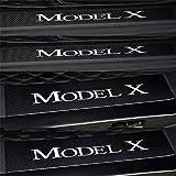 Etiqueta Engomada De La Placa Del Desgaste De La Puerta Del Coche De 4 Pcs, Fibra De Carbono De ImitacióN, Para Tesla Model X