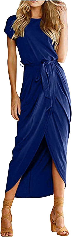 NLLSHGJ Summer Dresses for Women Women Summer Short/3/4 Sleeve Belted Dress Elastic Waist Slit Long Maxi Dress