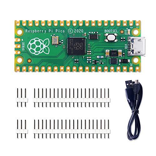 GeeekPi Raspberry Pi Pico Kit de microcontrolador flexible Mini placa de desarrollo, basado en la Raspberry Pi RP2040, procesador de doble núcleo ARM Cortex M0+, soporte C / C++ / Python