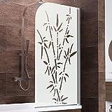 Schulte D1650 Duschwand Komfort, 80 x 140 cm, 5 mm Sicherheitsglas Bamboo, alu natur, Duschabtrennung für Badewanne