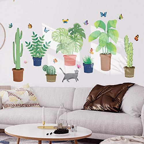 Preisvergleich Produktbild ZXFMT Wandaufkleber Kreative Tropische Kaktuspflanze Wandaufkleber Nette Topfpflanze Inkjet Wandaufkleber Home Kinderzimmer Innenwandaufkleber