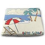 Houity Beach mit Palmen und Strandkorb Sommer 100% Polyester quadratisch Kissen mit Kern,...