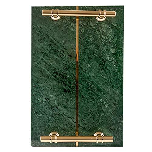 YOYO Inicio Mármol Placa de Piedra Bandeja Vanidad Cuidado de la Piel almacenaje de la joyería Vestir Baño Bandeja con Asas TableKitchen (Color : Green)