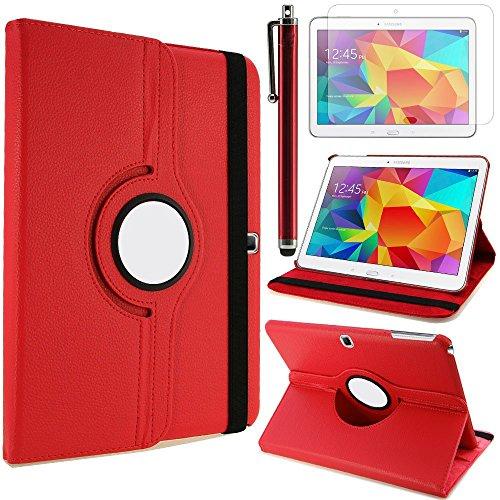 TIODIO 4 en 1 Case Cover Custodia per Samsung Galaxy Tab 4 10.1 T530 / T531 / T535 Cover in Ecopelle con Meccanismo di Rotazione di 360° per Posizionamento Verticale ed Orizzontale del Tablet,Pellicola di Protezione e dello stilo Incluse, Rosso