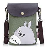 Abaddon Canvas Small Cute Crossbody Cell Wallet Bag Phone Purse with Shoulder Strap (green totoro)