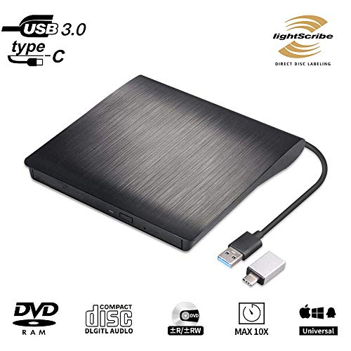 Lightscribe External CD DVD Drive Burner, USB 3.0 Type-c Ultra-Slim Portable Optical Drive CD DVD +/-RW ROM Reader Compatible with PC Laptop Desktop MacBook Mac Windows 7/8.1/10 Linux