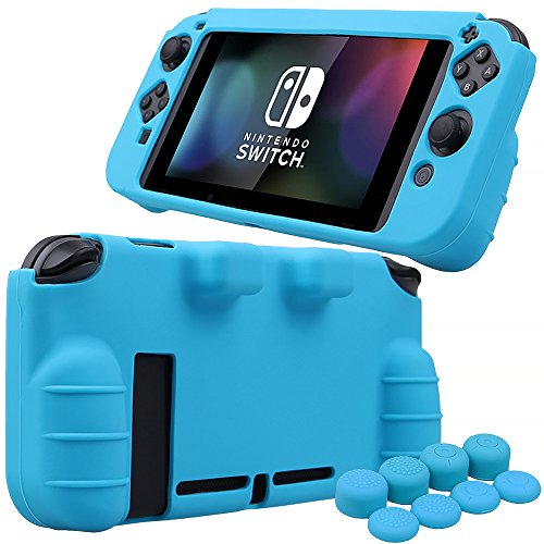 MXRC Silicone Rubber Cover Skin case Anti-Slip Hand Grip Customize for Nintendo Switch x 1(Blue) + Joycon Thumb Grips x 8