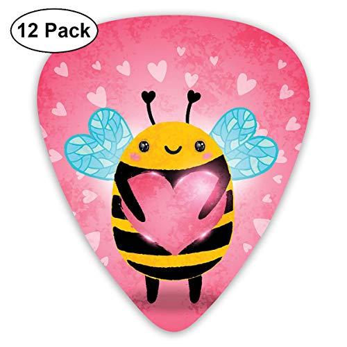Gitaar Picks12pcs Plectrum (0.46mm-0.96mm), Liefde Valentijnsdag Hommel Het houden van een Giant Heart Cartoon stijl, Voor Uw Gitaar of Ukulele