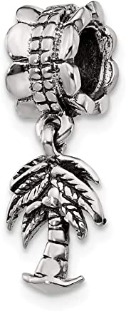 925 Sterling Silver Charm For Bracelet Palm Tree Dangle Bead Floral Beach Fine Jewelry Gifts For Women For Her