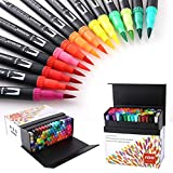 Hohuhu 100 colores con doble rotuladores punta pincel,ideal para libros para colorear para adultos, manga, comic, caligrafía ho-100b