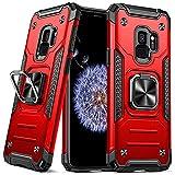 DASFOND Diseñado para Funda Samsung Galaxy S9 Funda Protectora para Teléfono de Grado Militar con Soporte Mejorado [Soporte Magnético],Rojo