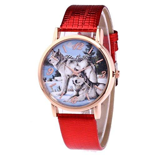Modische Armbanduhr, Lässige Quarzuhr mit PU Lederband und Wolf Design Zifferblatt (Rot)