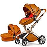 Hot Mom Pushchair 2018, 3 in 1 Baby Stroller Travel System with Bassinet Brown(red)