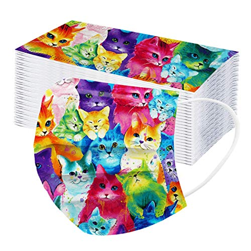 Donasty 50 Stück Erwachsene Einweg Mundschutz Mehrfarbig Print Mund und Nasenschutz Katze Print Staubschutz Atmungsaktive Gesichtsschutz Bandana Loop Halstuch für Erwachsene