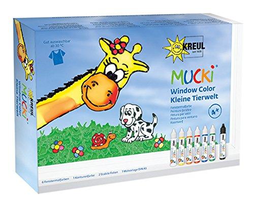 Kreul 24451 - Mucki Window Color Set Kleine Tierwelt, 7 x 29 ml Farbe, Folien und Vorlagen, Fenstermalfarbe auf Wasserbasis, parabenfrei, glutenfrei, laktosefrei, vegan, leicht vermalbar, auswaschbar
