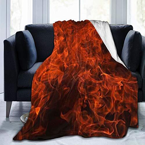 ghkfgkfgk Feuer-Flammen-heißer lodernder Inferno-Brand Fleecedecke   Superweiche Fleecedecke aus Mikrofaser Luxuriöse TV-Decke für Couchsofa 60 x 50 Zoll