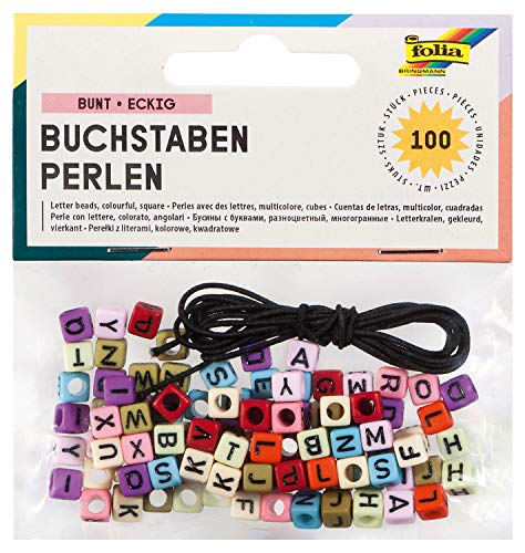 folia Pack of 100 Assorted Colours 6 x 6 mm Square Letter Beads with Hole for Threading and Approx 1 Metre of Elastic Cord Ideal for Necklaces, Bracelets and Other Jewellery 33913