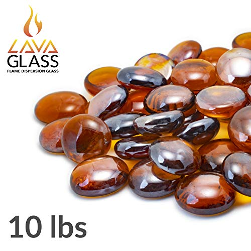 Bond Manufacturing 67986 10lb LavaGlass Round Fire Pit Dispersion Glass, ø 0.66-0.74 in, Amber Sunset