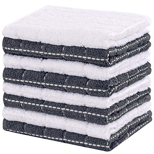 Sunolga Cotton Terry Dishcloth12 x 12 InchesSet of 8 Kitchen Dish Cloths Soft Absorbent Kitchen Towels Rags 12x12 Inches 8 Pack Dish Cloths Gray