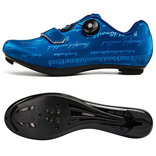 AGYE Cycling Shoes for Women Men,Road bike shoes with SPD and Lock Peloton Shoe Pedal Bike Shoes,Blue-39
