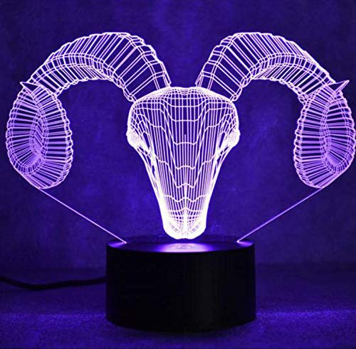 JHJUH 3D lamp Goat Head 3D Colorful Led Night Lamp Smart Home USB Power Child Toy 3D Light Christmas Decorations Gift for Baby Room Lights-Touch_Switch