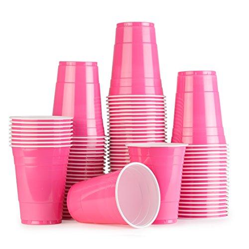 Pink Cups 100 Pack Rosa bechern - Beer Pong American Party tassen Original 500 ml - mehrere Farben - Student & Geburtstag | 16oz Große Plastik becher Trink Glas Einweg geschirr | Red Celebration