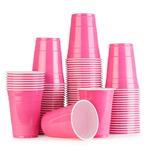 Pink Cups 100 Pack Rosa bechern - Beer Pong American Party tassen Original 500 ml - mehrere Farben - Student & Geburtstag | 16oz Große Plastik becher Trink Glas Einweg geschirr | Red Celebration