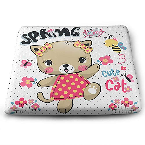 EKOBLA Cartoon Cat Square Cushion Cute Dress Pink Flowers Spring Adorable Bows Bee Animals Funny Cozy Square Seat Cushions for Car Office Memory Foam Polyester 13.7 x 15 Inch