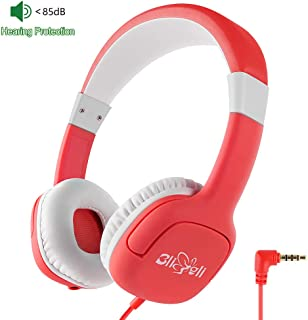 Kids Headphone with 85dB Volume Limited Hearing Protection, Music Sharing Function, Bligli Wired On-Ear Headsets for Children Youngster (Christmas Red)