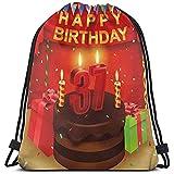 jenny-shop Sacs à Dos à Cordon imprimé Sacs, Gâteau au Chocolat Cadeaux Ballons Drapeau Icônes Mignonnes Bougies Image Artsy