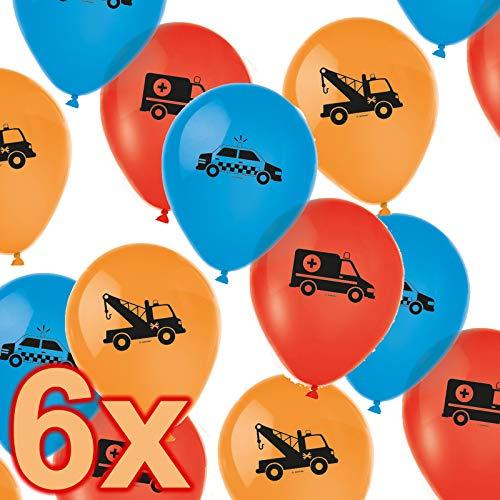 6 Luftballons * ON The Road * als Deko zum Kindergeburtstag und Kinder Party | Fahrzeuge Polizei Feuerwehr Rettungswagen Autos Geburtstag Ballons Luftballon Ballon