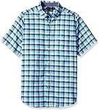 Nautica Men's Short Sleeve Oxford Plaid Button Down Shirt, Bali Bliss, Medium