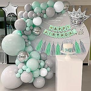 Decoraciones cumpleaños verde, APERIL Globos verde pastel, Globos gris verde Macaron, Banner HAPPY BIRTHDAY, Globos plateados metálicos, Globos blancos, Globos estrella corona, Adorno para tarta