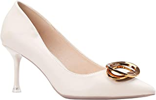 Womens High Heel Shoes with Stiletto Heels 7CM Buckle Pointed Toe Pumps Court Shoes