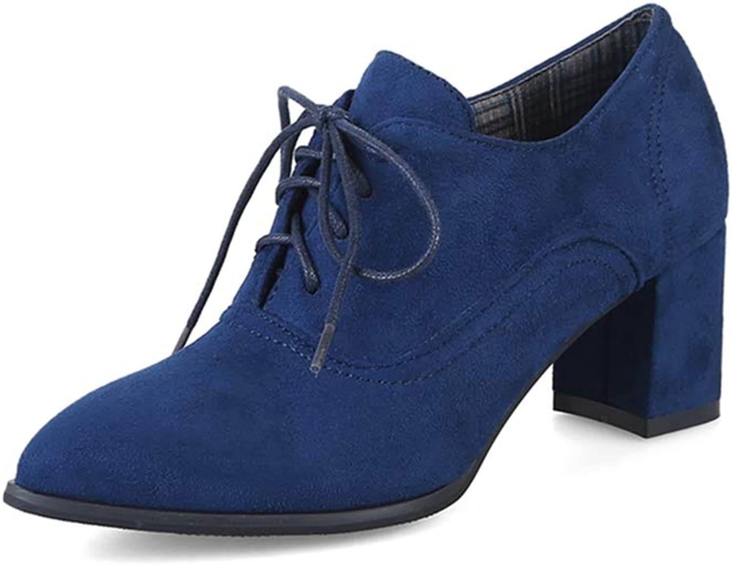GIY Women's Suede Lace Up Oxford Pumps Pointed Toe Platform Chunky Mid Heel Casual Dress Oxfords shoes