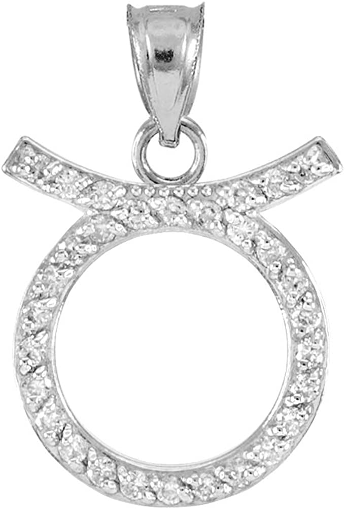 OFFicial shop Astrology Jewelry High Polish 14k Zodi White Taurus Diamond Gold Large special price !!