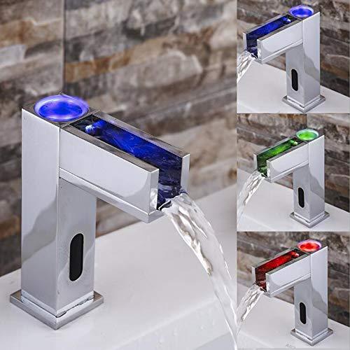 JRUIA Automatischer IR Infrarot Bad Wasserhahn LED Wasserfall Waschtischarmatur Mischbatterie Bad Waschbecken Armatur Badarmaturen aus Messing Chrom Batteriebetrieb f.Badezimmer